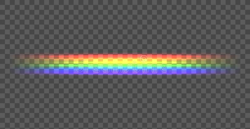 Διανυσματική ευθεία γραμμή ουράνιων τόξων, λάμποντας απεικόνιση στο σκοτεινό υπόβαθρο, διαφανής γραμμή διανυσματική απεικόνιση