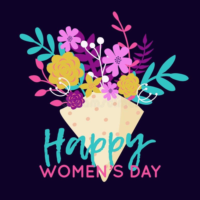 Διανυσματική ευτυχής απεικόνιση στις 8 Μαρτίου με την ανθοδέσμη των λουλουδιών Ευχετήρια κάρτα ημέρας των καθιερωνουσών τη μόδα δ ελεύθερη απεικόνιση δικαιώματος