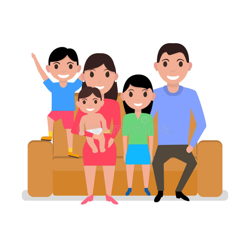 Διανυσματική ευτυχής οικογενειακή συνεδρίαση κινούμενων σχεδίων στον καναπέ ελεύθερη απεικόνιση δικαιώματος