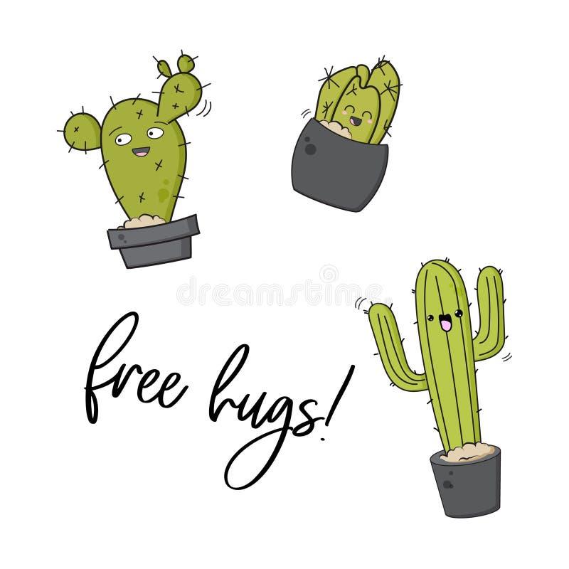 Διανυσματική ευτυχής τυπωμένη ύλη κάκτων Δροσερό σχέδιο παιδιών με τις αυτοκόλλητες ετικέττες succulents Ελεύθερη καρφίτσα διακοσ ελεύθερη απεικόνιση δικαιώματος
