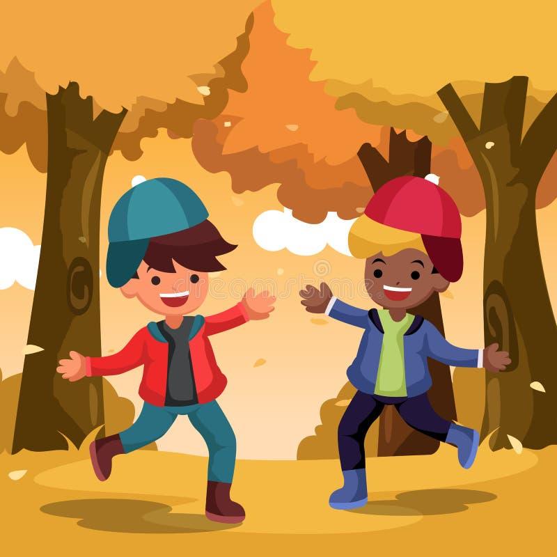 Διανυσματική ευτυχής χαριτωμένη διασκέδαση παιδιών και παιχνίδι με τα φύλλα φθινοπώρου στον κήπο ελεύθερη απεικόνιση δικαιώματος