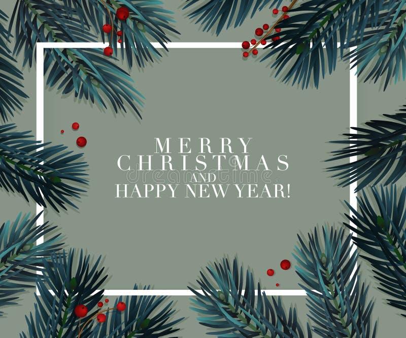 Διανυσματική ευχετήρια κάρτα έλατου χριστουγεννιάτικων δέντρων Μεγάλος για τα ιπτάμενα, αφίσες, επιγραφές ρεαλιστικά Χριστούγεννα απεικόνιση αποθεμάτων