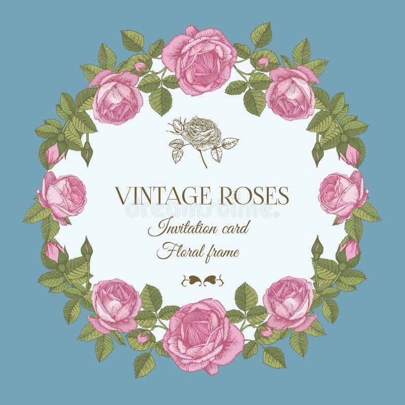 Διανυσματική ευχετήρια κάρτα με ένα στρογγυλό floral πλαίσιο των ρόδινων τριαντάφυλλων διανυσματική απεικόνιση