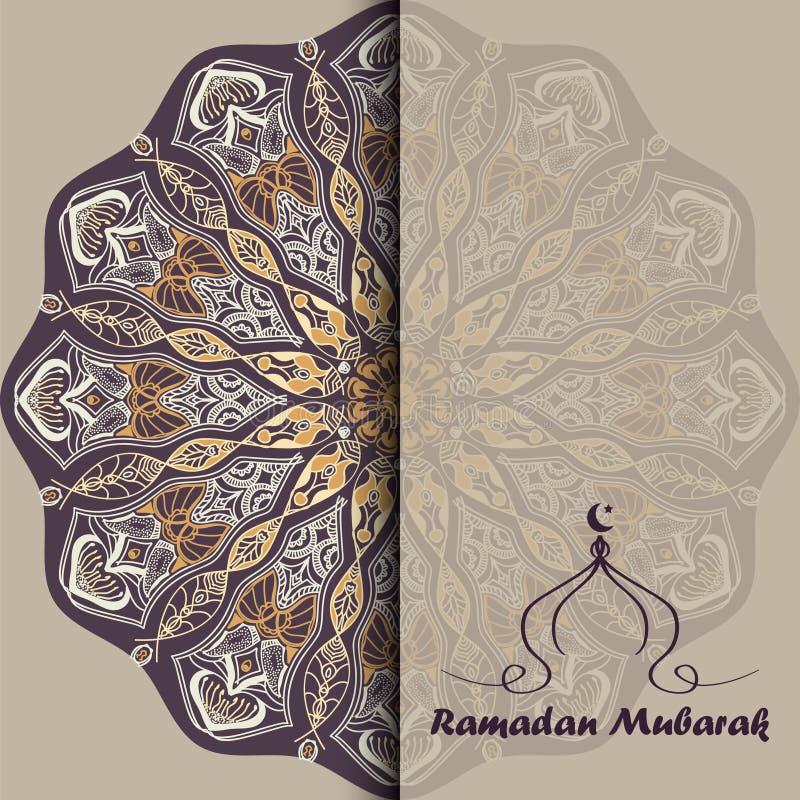Διανυσματική ευχετήρια κάρτα σε Ramadan απεικόνιση αποθεμάτων