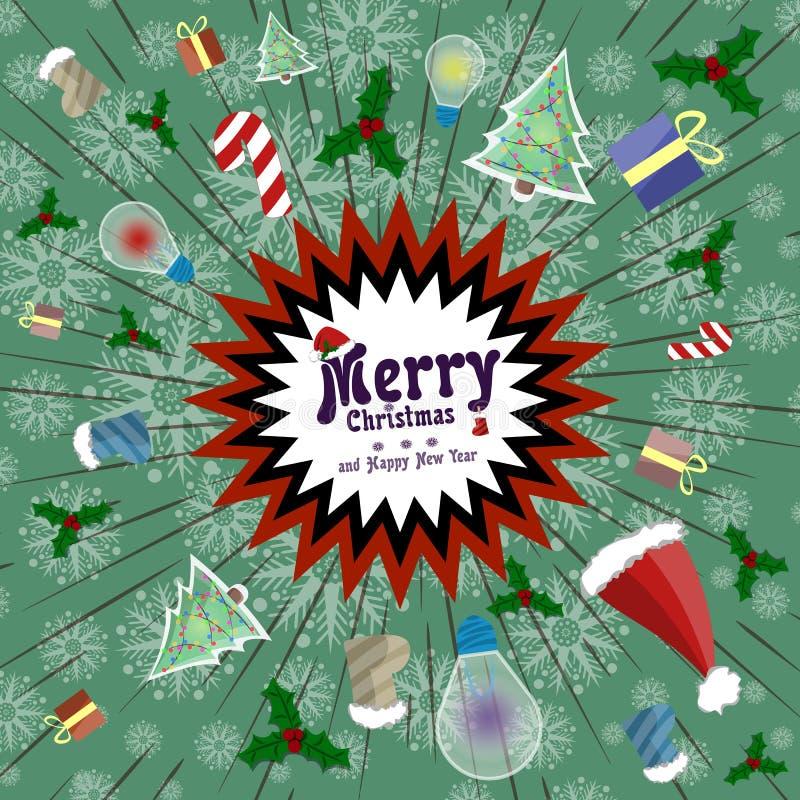 Διανυσματική ευχετήρια κάρτα στο αναδρομικό ύφος Έκρηξη διακοπών της διασκέδασης, δώρα, καραμέλα, καλύμματα Άγιου Βασίλη απεικόνιση αποθεμάτων