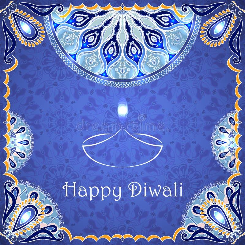 Διανυσματική ευχετήρια κάρτα στο ινδικό φεστιβάλ των φω'των diwali happy ελεύθερη απεικόνιση δικαιώματος