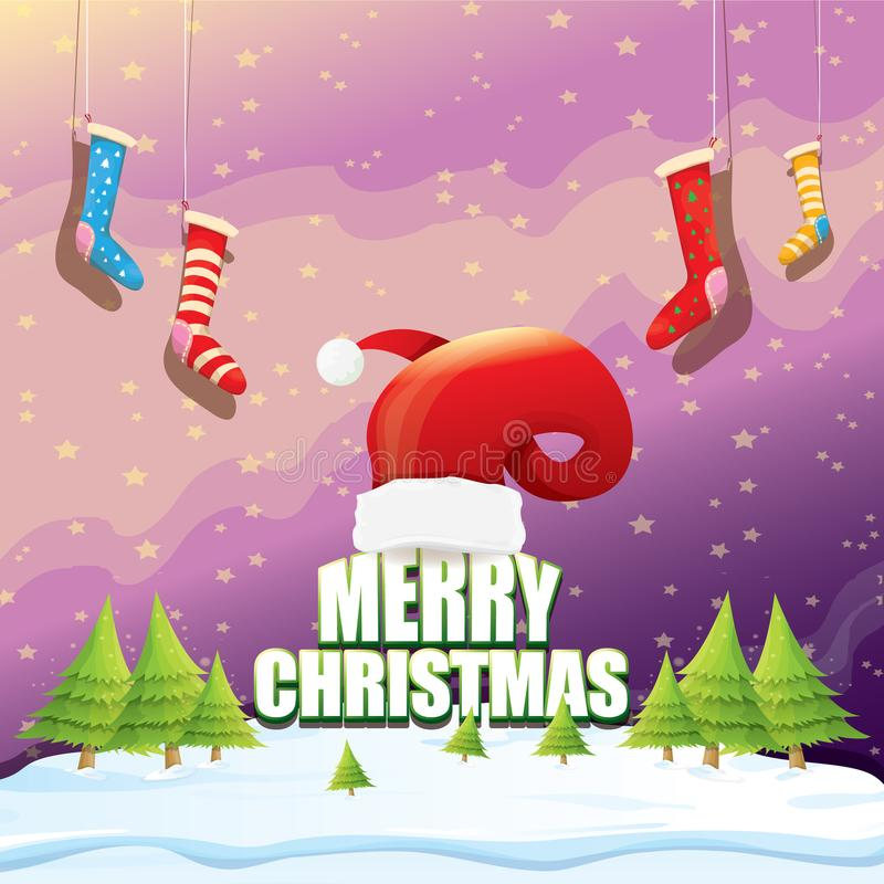 Διανυσματική ευχετήρια κάρτα Χριστουγέννων με το κόκκινο καπέλο santa, χριστουγεννιάτικα δέντρα, χιόνι, έναστρος ουρανός νύχτας,  ελεύθερη απεικόνιση δικαιώματος