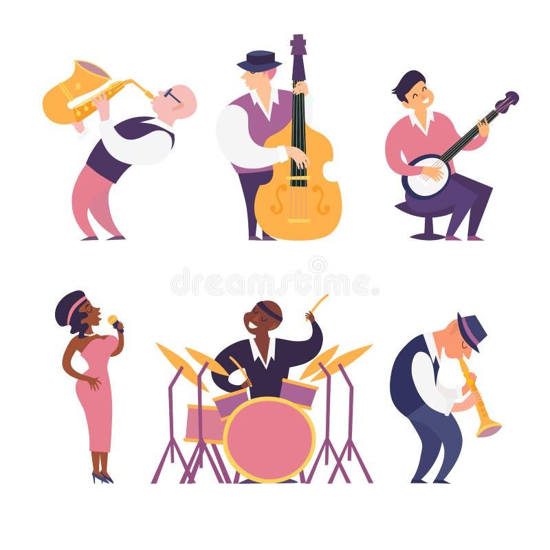 Διανυσματική ζωηρόχρωμη απεικόνιση ζωνών της Jazz Μουσικοί τζαζ κινούμενων σχεδίων καθορισμένοι ελεύθερη απεικόνιση δικαιώματος