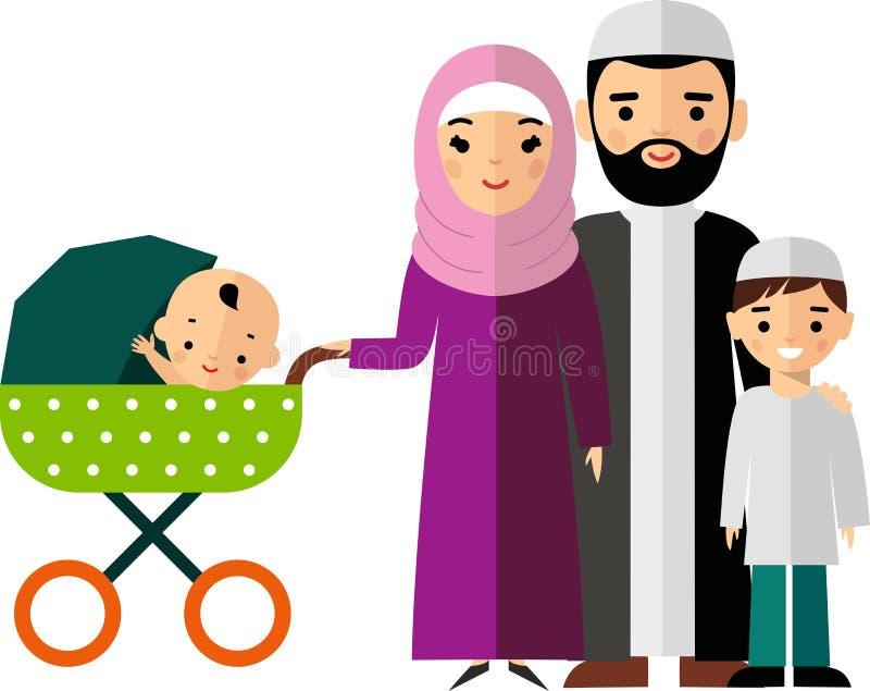 Διανυσματική ζωηρόχρωμη απεικόνιση της αραβικής οικογένειας στα εθνικά ενδύματα διανυσματική απεικόνιση