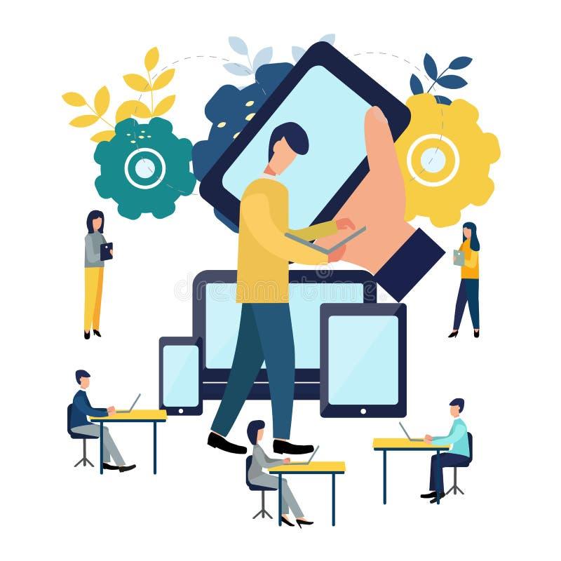 Διανυσματική ζωηρόχρωμη απεικόνιση της επικοινωνίας μέσω του Διαδικτύου, κοινωνικά δίκτυα, συνομιλία, βίντεο, ειδήσεις, μηνύματα, ελεύθερη απεικόνιση δικαιώματος
