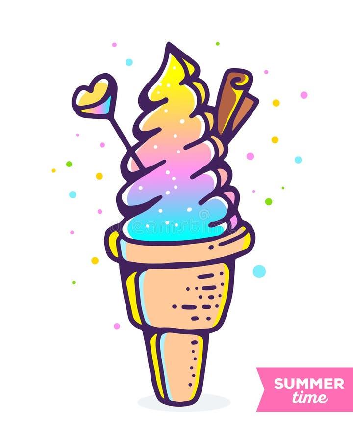 Διανυσματική ζωηρόχρωμη απεικόνιση του παγωτού κλίσης με το chocolat διανυσματική απεικόνιση