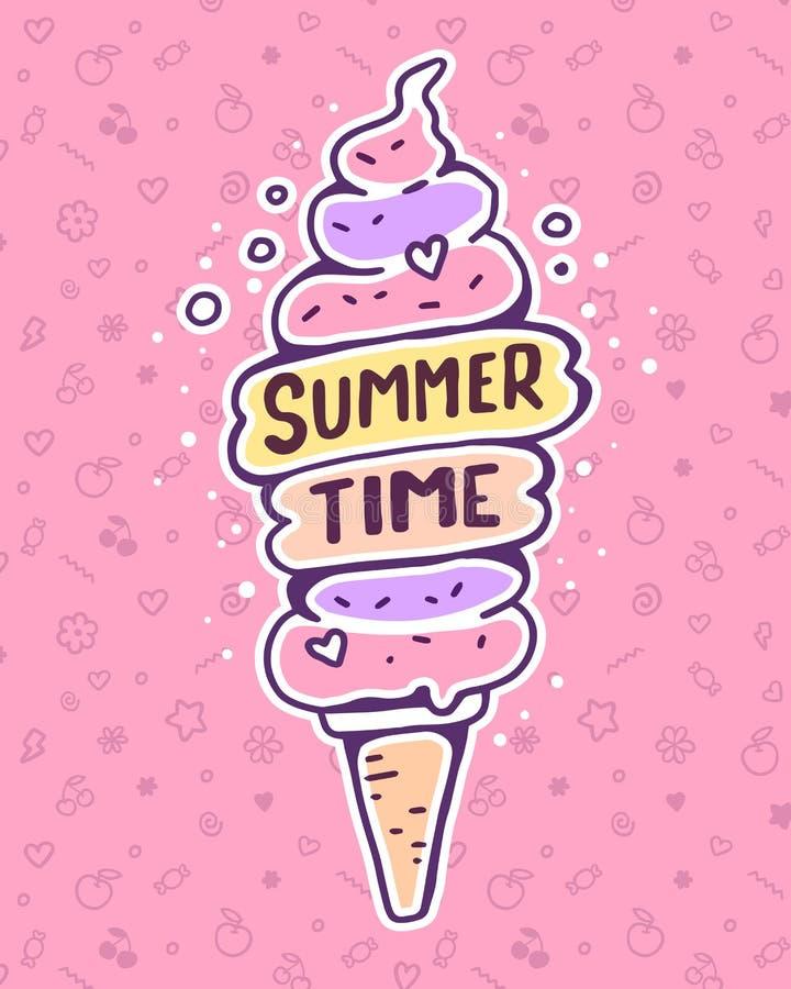 Διανυσματική ζωηρόχρωμη απεικόνιση του πολύ υψηλού παγωτού με το inscrip απεικόνιση αποθεμάτων