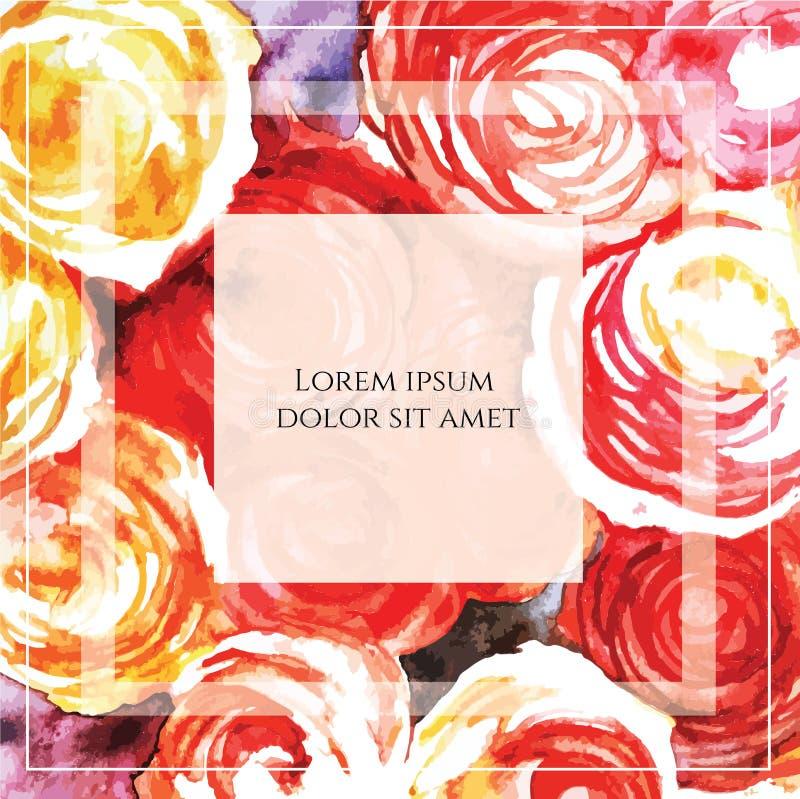 Διανυσματική ζωηρόχρωμη κάρτα με τα λουλούδια και κείμενο στο τετραγωνικό πλαίσιο ελεύθερη απεικόνιση δικαιώματος