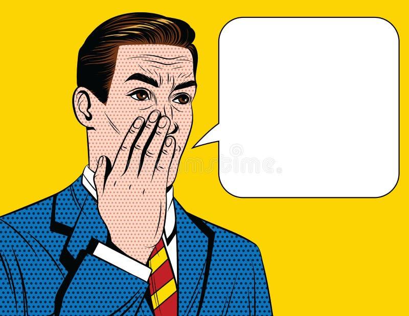 Διανυσματική ζωηρόχρωμη κωμική απεικόνιση ύφους ενός ατόμου στο κοστούμι που λέει ένα μυστικό σε κάποιο ελεύθερη απεικόνιση δικαιώματος