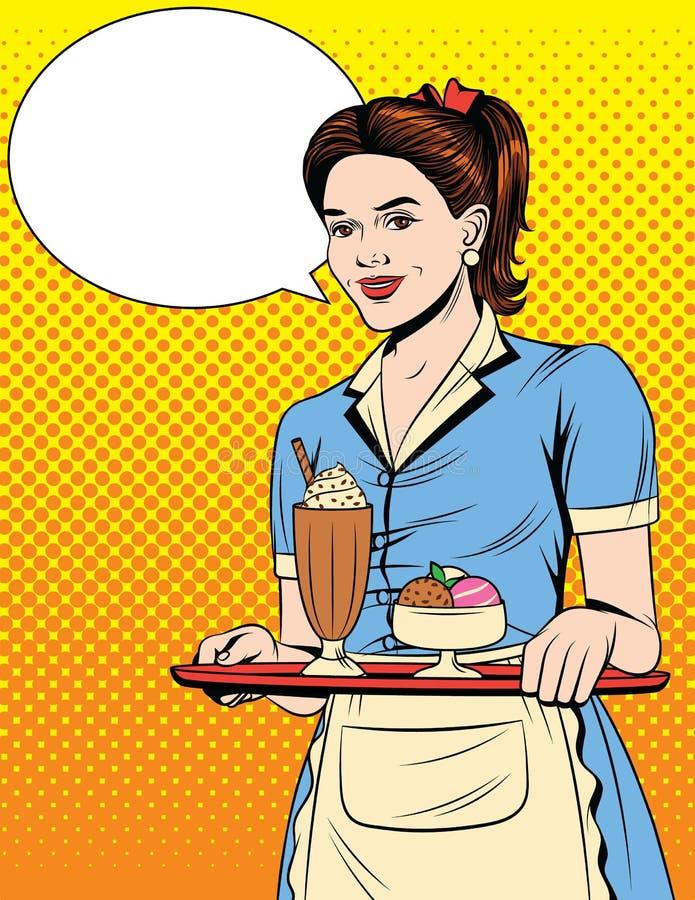 Διανυσματική ζωηρόχρωμη κωμική λαϊκή απεικόνιση ύφους τέχνης μιας όμορφης σερβιτόρας με έναν δίσκο διανυσματική απεικόνιση