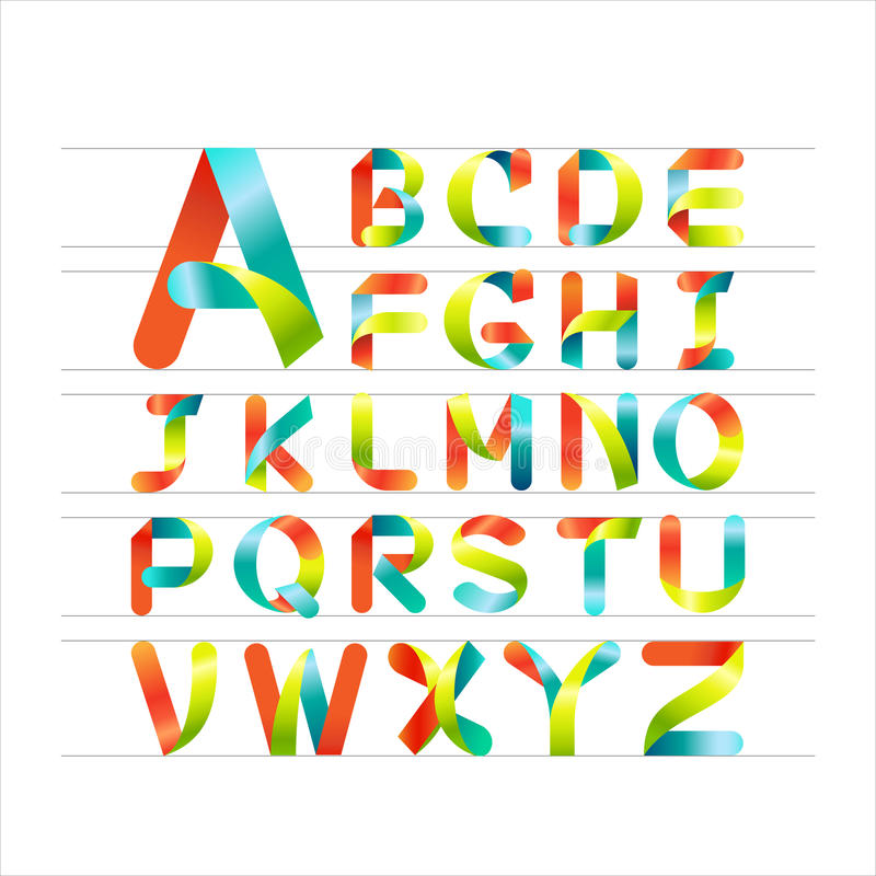 Διανυσματική ζωηρόχρωμη πηγή ζωηρόχρωμο αλφάβητο κορδελλών Κεφαλαίο γράμμα Α στο Ζ διανυσματική απεικόνιση