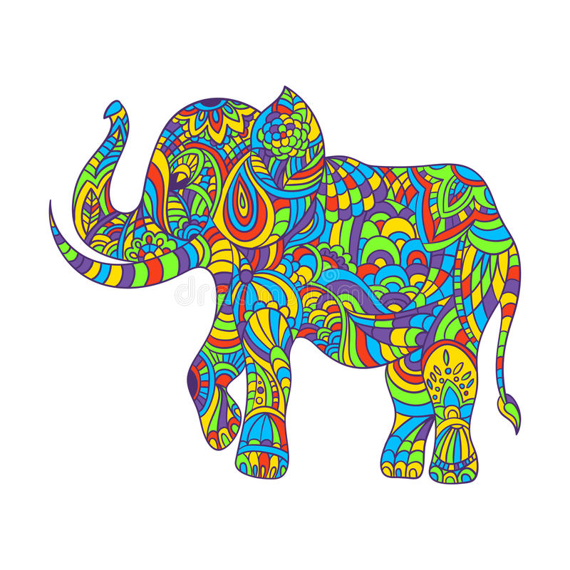 Διανυσματική ζωηρόχρωμη συρμένη χέρι zentagle απεικόνιση ενός ελέφαντα διανυσματική απεικόνιση