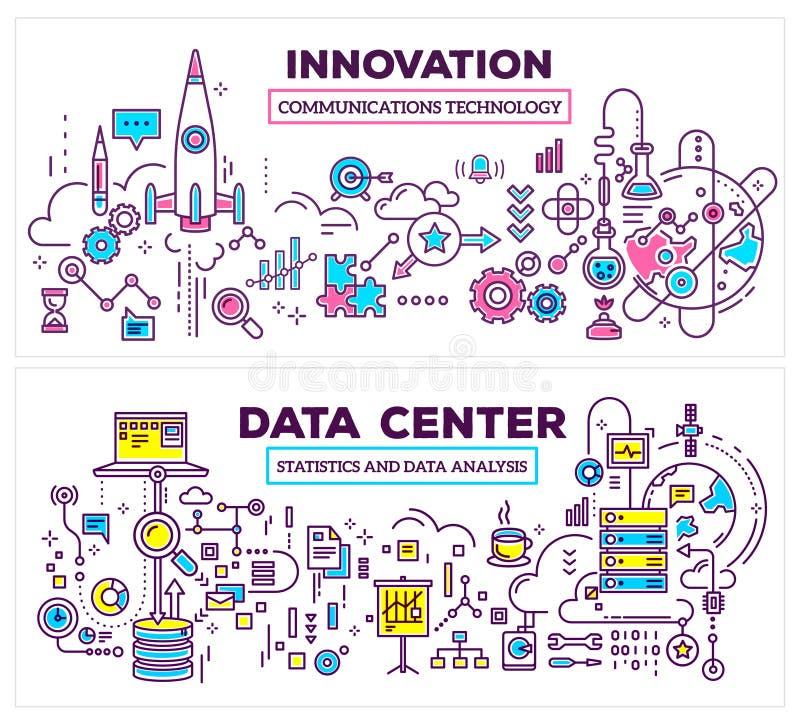 Διανυσματική δημιουργική απεικόνιση έννοιας του κέντρου δεδομένων και του innovati στοκ εικόνες με δικαίωμα ελεύθερης χρήσης