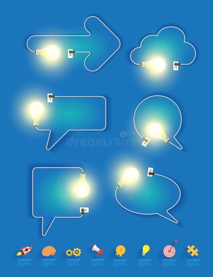Διανυσματική δημιουργική ιδέα λαμπών φωτός στη μορφή των λεκτικών φυσαλίδων απεικόνιση αποθεμάτων