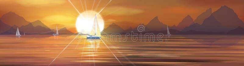 Διανυσματική θάλασσα ηλιοβασιλέματος ελεύθερη απεικόνιση δικαιώματος