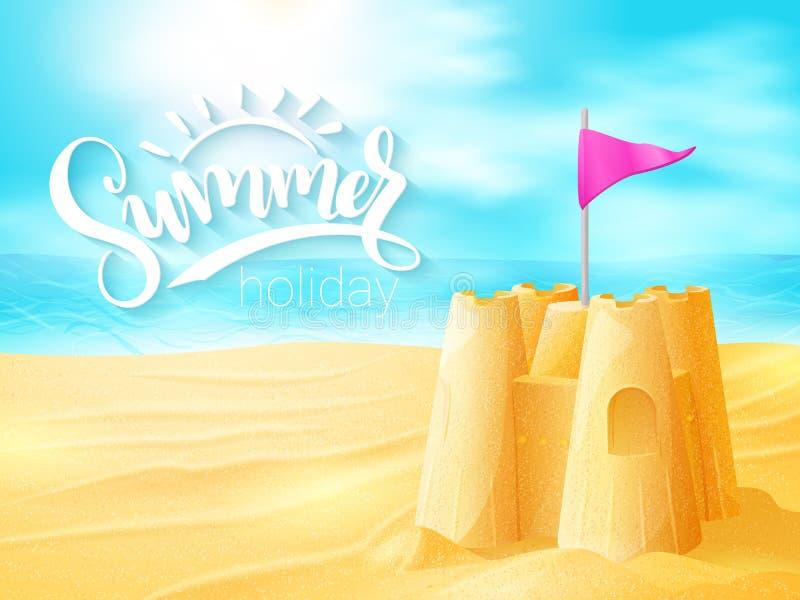 Διανυσματική θερινή εμπνευσμένη φράση εγγραφής χεριών με το κάστρο άμμου στο υπόβαθρο παραλιών θάλασσας διανυσματική απεικόνιση