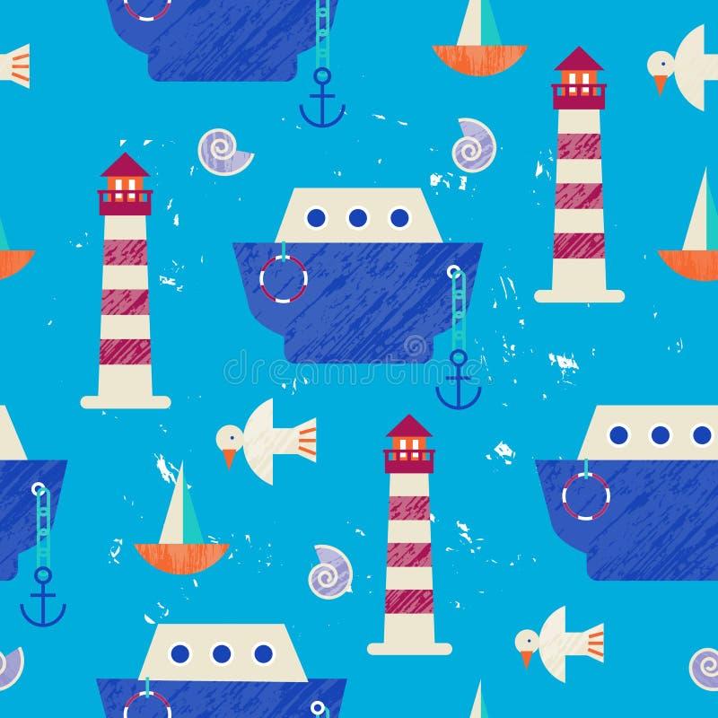 Διανυσματική θερινή ζωηρόχρωμη απεικόνιση, ταξίδι, διακοπές Άνευ ραφής σχέδιο, υπόβαθρο, ύφασμα, τύλιγμα εγγράφου Θάλασσα διανυσματική απεικόνιση