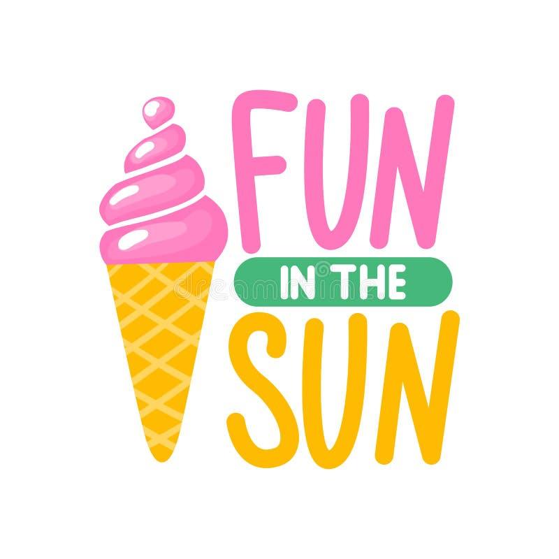 Διανυσματική θερινή κάρτα με το χαριτωμένο ρόδινο παγωτό ήλιος διασκέδασης απεικόνιση αποθεμάτων