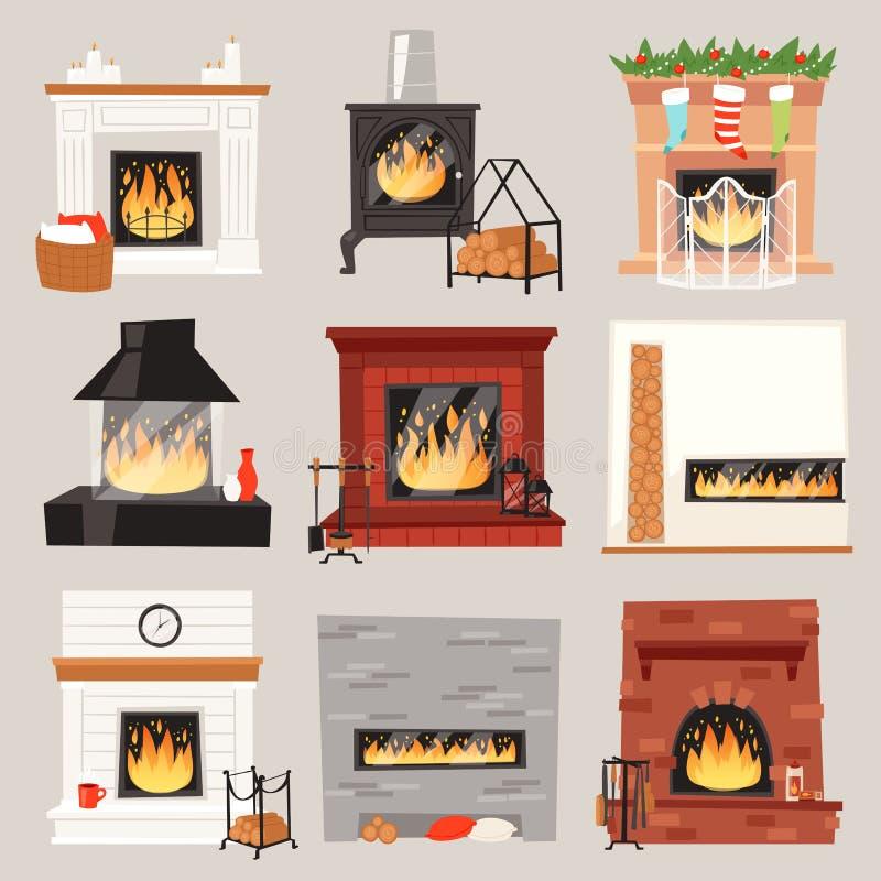 Διανυσματική θερμή θέση πυρκαγιάς εστιών στο εσωτερικό του σπιτιού στα Χριστούγεννα το χειμώνα στο σύνολο απεικόνισης σπιτιών θερ διανυσματική απεικόνιση