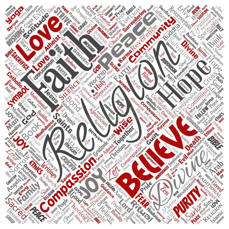 Διανυσματική θρησκεία, Θεός, πίστη, πνευματικότητα απεικόνιση αποθεμάτων