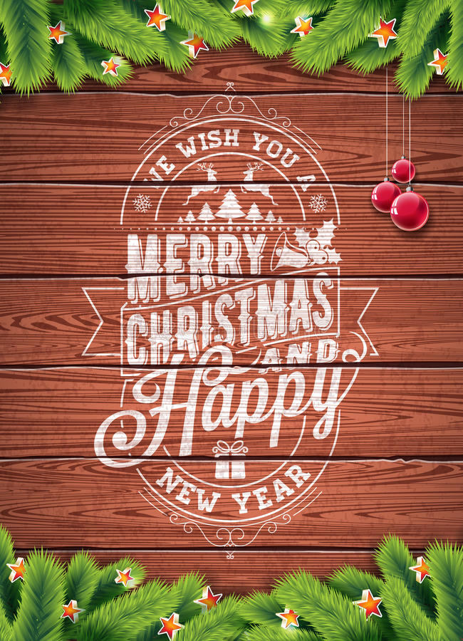 Διανυσματική διακοπές Χαρούμενα Χριστούγεννας και απεικόνιση καλής χρονιάς με το τυπογραφικό σχέδιο και snowflakes στο ξύλινο υπό απεικόνιση αποθεμάτων
