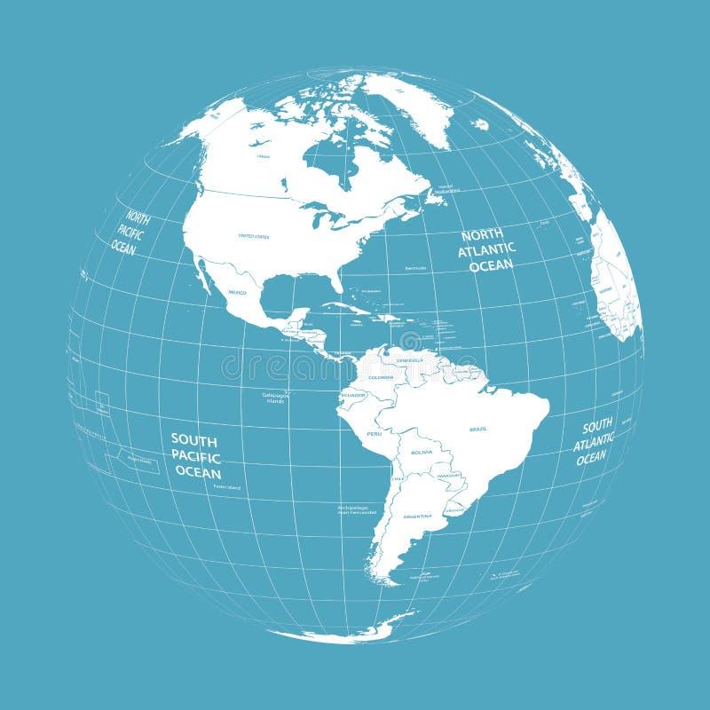 Διανυσματική διανυσματική γήινη σφαίρα με τον πολιτικό χάρτη ελεύθερη απεικόνιση δικαιώματος