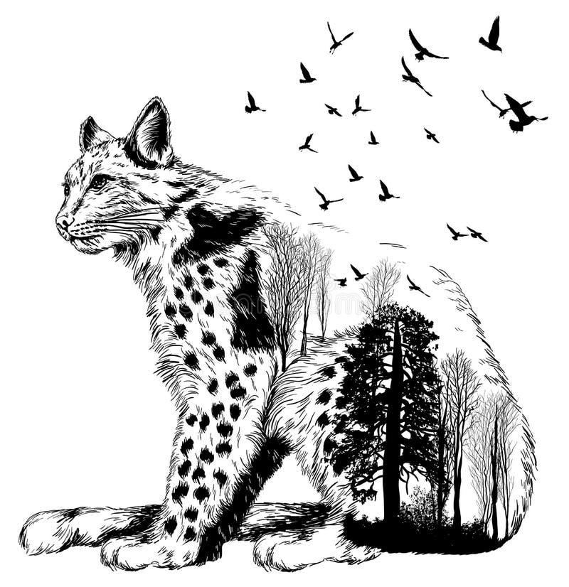 Διανυσματική διπλή έκθεση, λυγξ, έννοια άγριας φύσης απεικόνιση αποθεμάτων