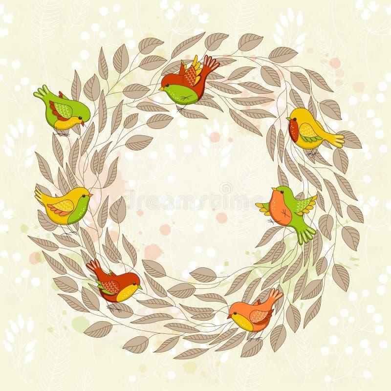 Διανυσματική κάρτα άνοιξη με το floral στεφάνι και τα πουλιά απεικόνιση αποθεμάτων