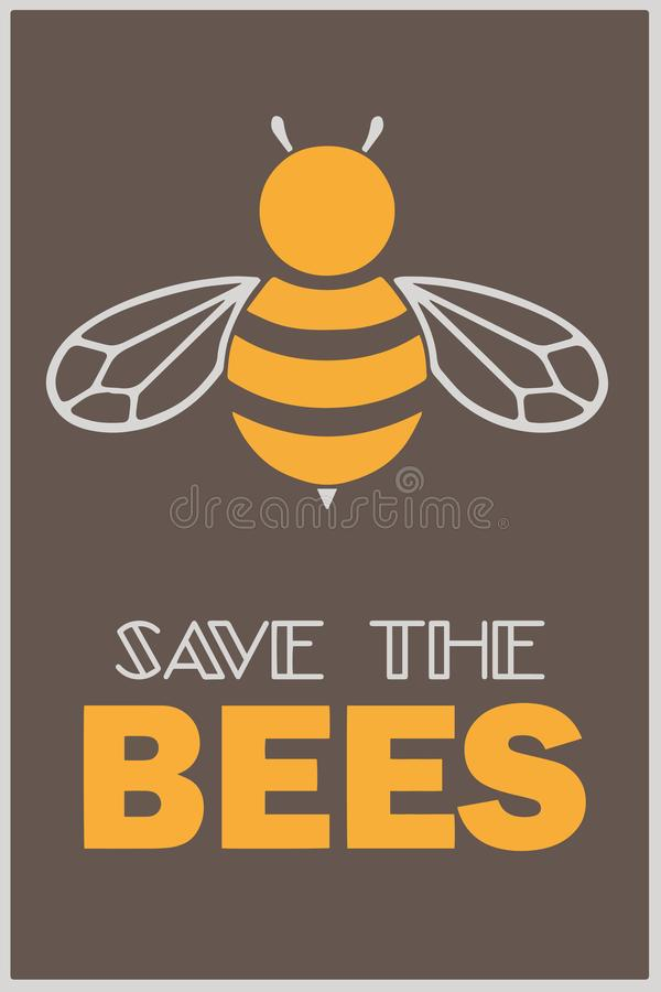 """Διανυσματική κάρτα ή αφίσα κινητήρια με την απεικόνιση και το κείμενο μελισσών μελιού """"εκτός από τις μέλισσες """" απεικόνιση αποθεμάτων"""