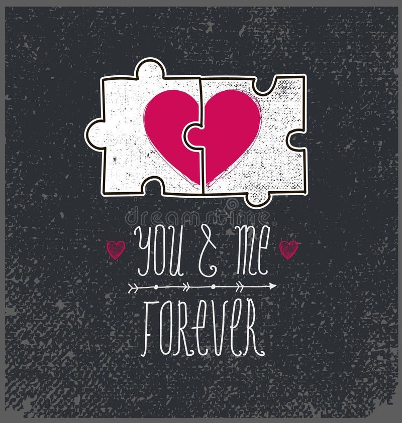 Διανυσματική κάρτα βαλεντίνων, έννοια αγάπης Εσείς και εγώ για πάντα, δύο μέρη γρίφων με την καρδιά απεικόνιση αποθεμάτων