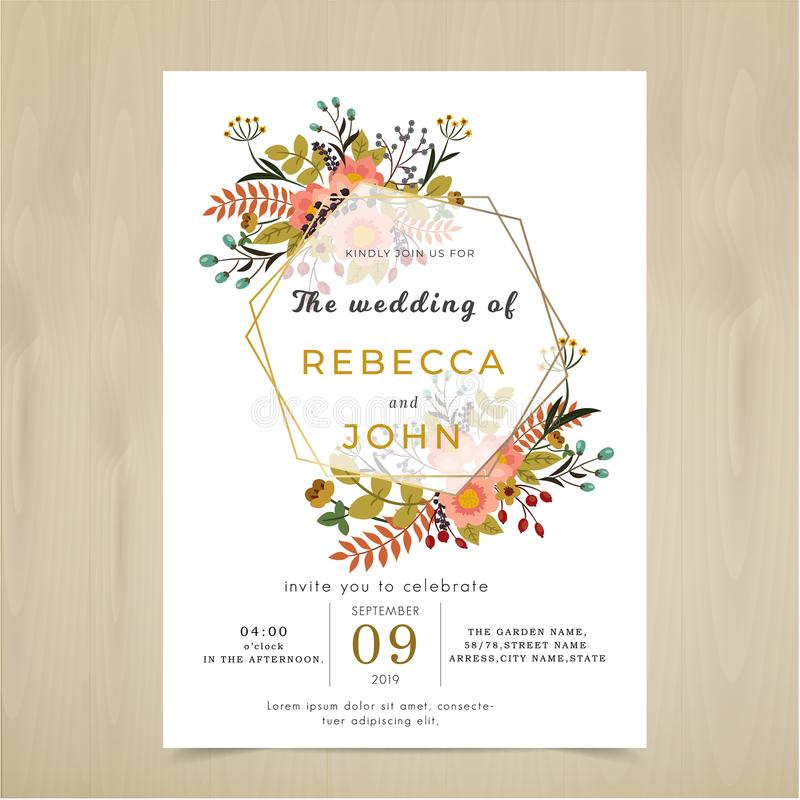 Διανυσματική κάρτα γαμήλιας πρόσκλησης Αγροτικό σύνολο σχεδίων λουλουδιών χλωρίδας διανυσματική απεικόνιση