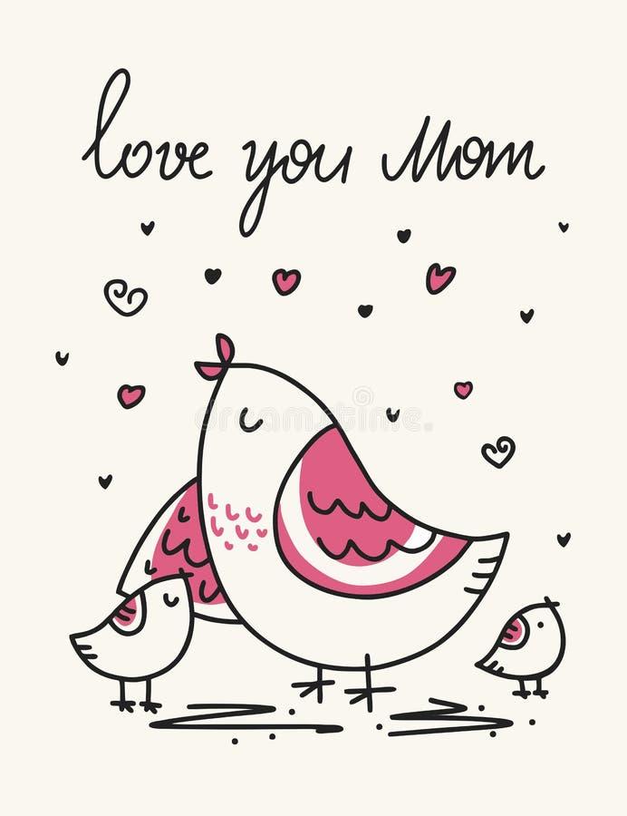 Διανυσματική κάρτα ημέρας μητέρων ` s με το πουλί και τα χαριτωμένα παιδιά της Ζωική απεικόνιση ημέρας μητέρων κινούμενων σχεδίων διανυσματική απεικόνιση