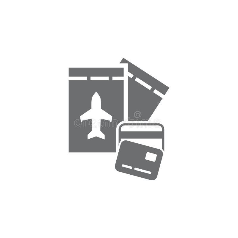 Διανυσματική κάρτα μετρητών απεικόνισης και αεροπορικά εισιτήρια ελεύθερη απεικόνιση δικαιώματος