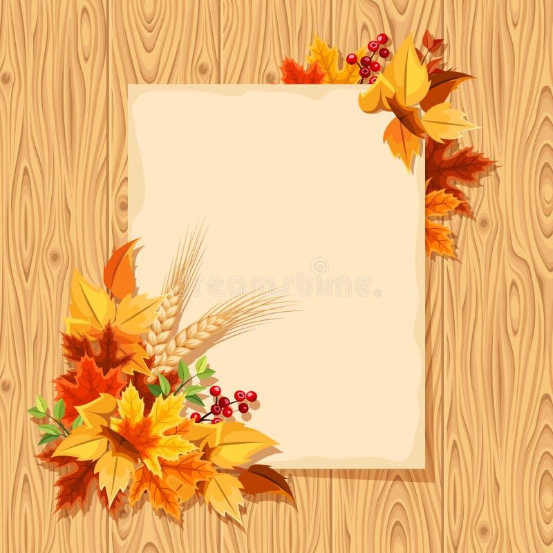 Διανυσματική κάρτα με τα ζωηρόχρωμα φύλλα φθινοπώρου σε ένα ξύλινο υπόβαθρο διανυσματική απεικόνιση