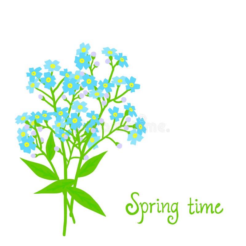 Διανυσματική κάρτα με τα μικρά μπλε λουλούδια απεικόνιση αποθεμάτων