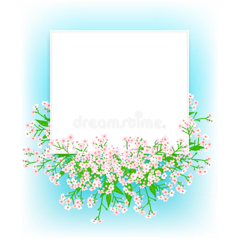 Διανυσματική κάρτα με τα μικρά ρόδινα λουλούδια απεικόνιση αποθεμάτων