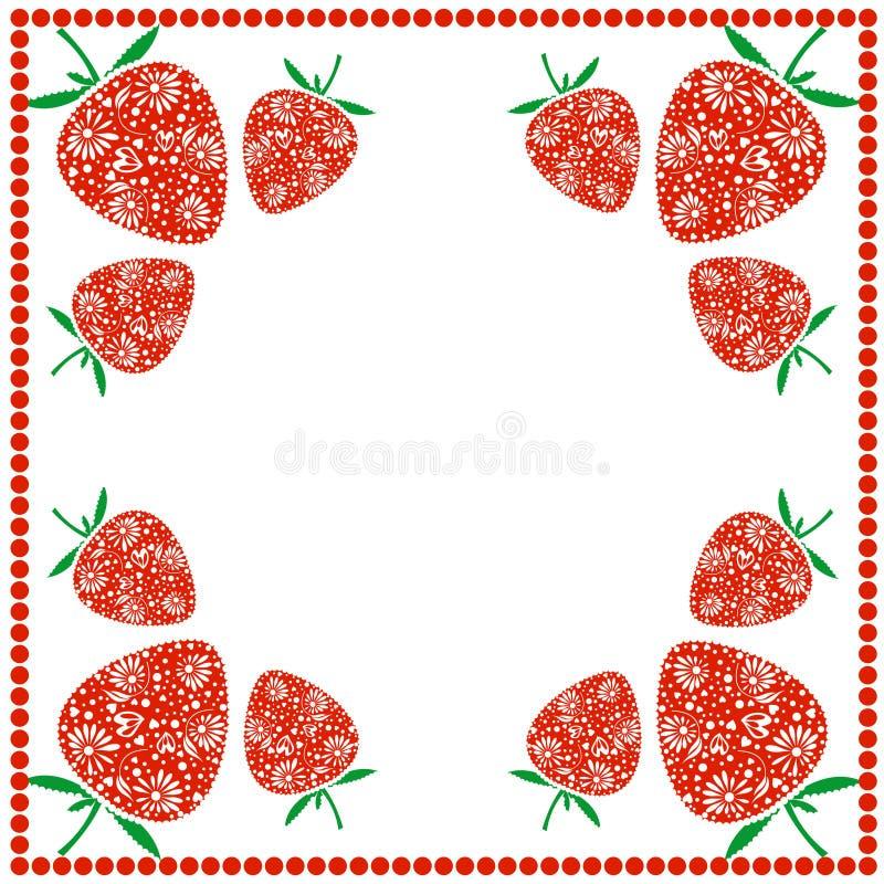 Διανυσματική κάρτα με τα μούρα Κενή τετραγωνική μορφή με τις διακοσμητικές φράουλες και σύνορα με τα σημεία Διακοσμητικό πλαίσιο  διανυσματική απεικόνιση