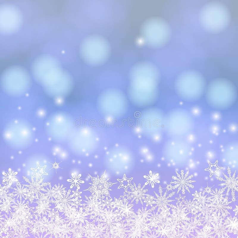 Διανυσματική κάρτα με τα φω'τα και το χιόνι Chrismas ελεύθερη απεικόνιση δικαιώματος