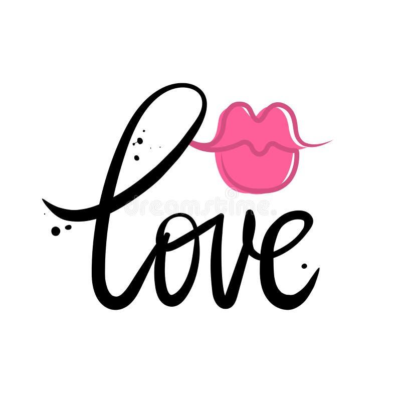 Διανυσματική κάρτα με την αγάπη σημαδιών και το θηλυκό φιλί κραγιόν ελεύθερη απεικόνιση δικαιώματος