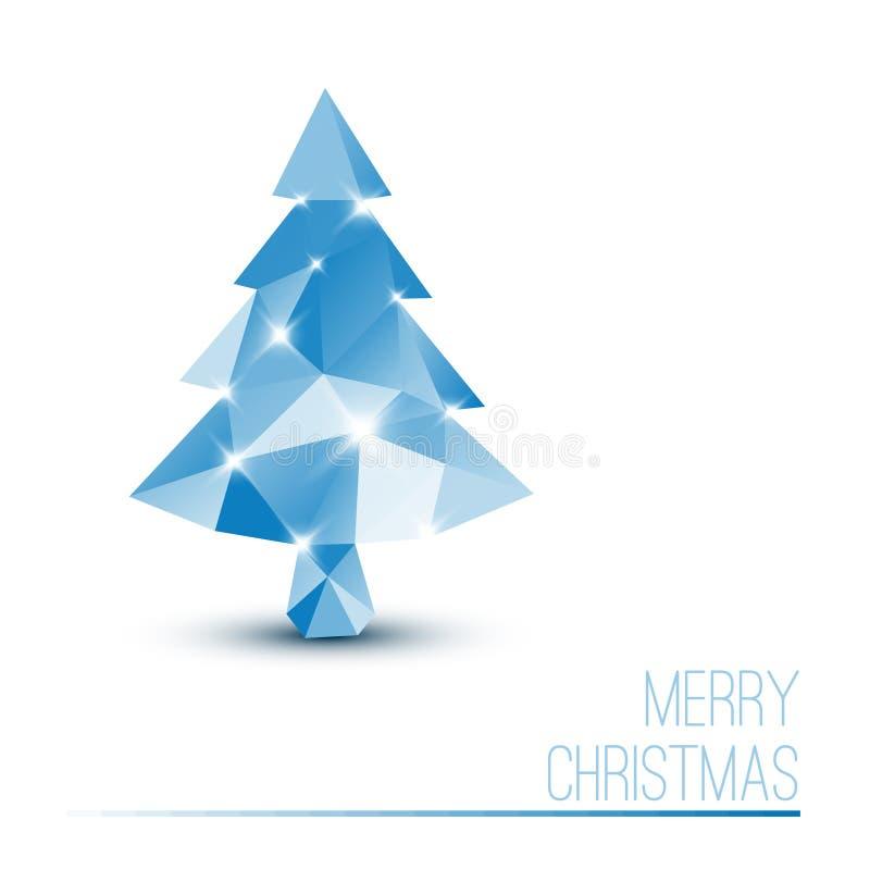 Διανυσματική κάρτα με το αφηρημένο μπλε χριστουγεννιάτικο δέντρο απεικόνιση αποθεμάτων