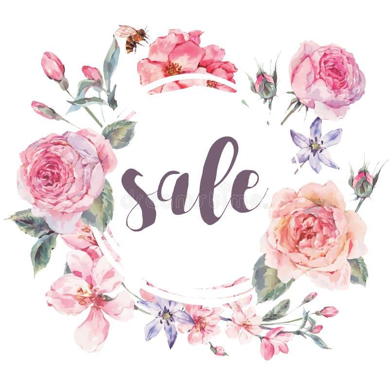 Διανυσματική κάρτα πώλησης άνοιξη εκλεκτής ποιότητας floral ελεύθερη απεικόνιση δικαιώματος