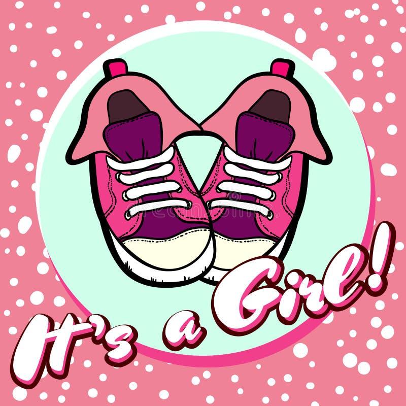 Διανυσματική κάρτα συγχαρητηρίων ντους μωρών κοριτσιών Ανακοίνωση μωρών στο ροζ Είναι κορίτσι με τα παπούτσια παιδιών στον κύκλο ελεύθερη απεικόνιση δικαιώματος