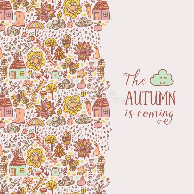 Διανυσματική κάρτα φθινοπώρου doodles Το χέρι σύρει τα δέντρα και βγάζει φύλλα πέρα από την πόλη Απόσπασμα εγγραφής διανυσματική απεικόνιση