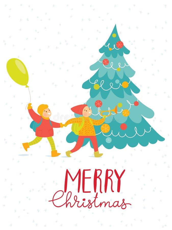 Διανυσματική κάρτα Χαρούμενα Χριστούγεννας με τα ευτυχή παιδιά ελεύθερη απεικόνιση δικαιώματος