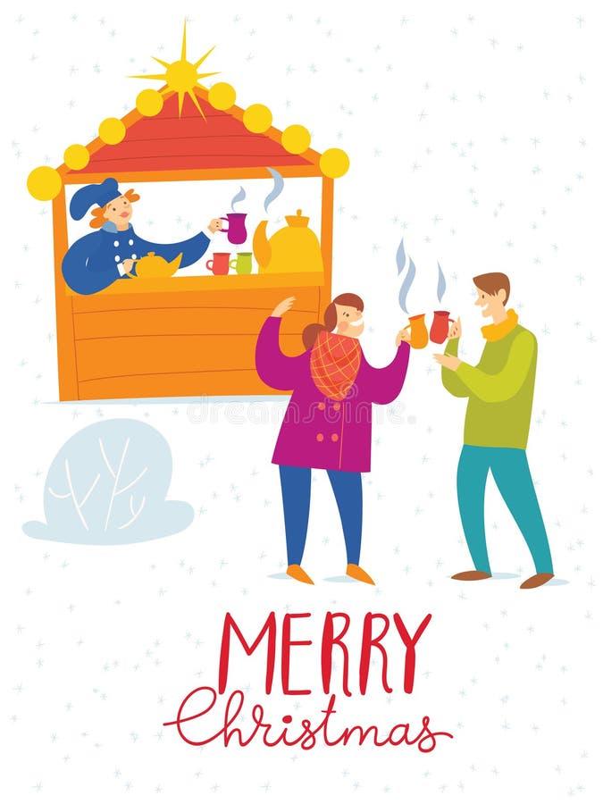 Διανυσματική κάρτα Χαρούμενα Χριστούγεννας με τους πίνοντας ανθρώπους σε μια αγορά Χριστουγέννων ελεύθερη απεικόνιση δικαιώματος